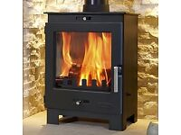 BLACK MULTI FUEL WOOD COAL BURNING BURNER STOVE FIREPLACE 5kW - BRAND NEW - STILL IN BOX