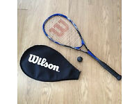 Wilson ''Crushing Force'' Squash Racquet ( includes cover and a ball)