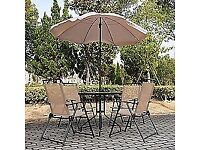 garden table glass top 4 chairs and parasol