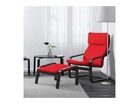 IKEA Poang Armchair - Black/Red