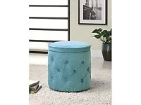 BRAND NEW SEALED ROUND BLUE BENCH/STORAGE