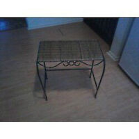 Wrought Iron & Wicker Table