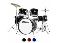 Tiger 5 piece drum set, cymbals and stool - NEW PRICE (REDUCED TO £50). GREAT FOR CHRISTMAS