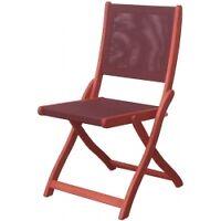 Chaise en teck maron et Textilène Couleur Noir