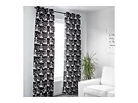 IKEA black & white cat patterned curtains