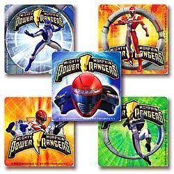 5 x Square Stickers ★ Power Rangers Mighty Morphin Cartoon Action Hero ★