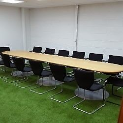 Round End Veneer Conference Table with Chairs 1 available