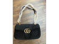 Women's Gucci GG Handbag Velour Gold Black Purple