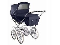 Excellent condition Navy Silvercross Kensington pram with matching pram bag and sun canopy (£450)