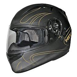 Black and gold flames helmet