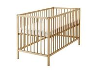 Cot with mattress ikea, very good condition