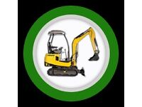 man & micro digger hire artificial grass installation glasgow landscapes fencing paving scotia grass