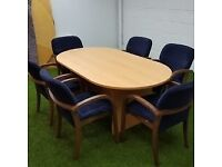 Beech Round End Conference Table with Chairs 1 available