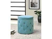 BRAND NEW SEALED ROUND BLUE STORAGE BENCH