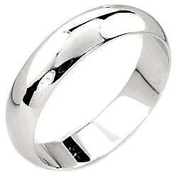 Mens 18K White Gold Wedding Band