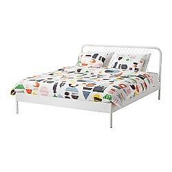 Nestuun Ikea white metal double bed frame