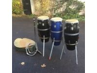 Professional Natal Congas x 3 and accessories