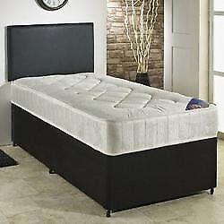 Divan Bed, Double, Sprung, Sprung, Mattress. Black Fabric, Leather Headboard. bargain