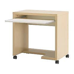 Ikea mikael computer desk on castors with pull out shelf white ikea mikael computer desk on castors with pull out shelf whitecream thecheapjerseys Image collections