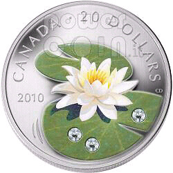 "2010 ""WATER LILY"" SILVER COIN with SWAROVSKI CRYSTALS"