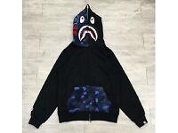 Bape hoodie black blue camo WGM