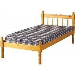Single pine slatted bed