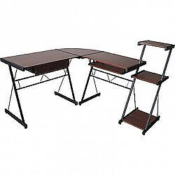 Star L-Shaped Corner Desk with Built-In Bookcase - Cherry/Black