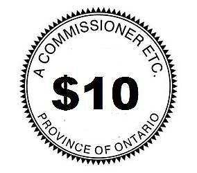 Commissioner of Oaths, Affidavit, Statutory Declaration - $10