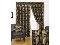2 X sundour black and gold curtains