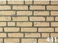 Brick slips: Barock, white color ref 431-WDF, Hand moulding