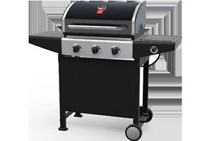 bbq, brand new in box 3 burners 1 side burner (propane)