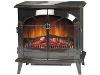 Dimplex Stockbridge Electric Optiflame Stove: Realistic Fire Effect (Black gloss finish)