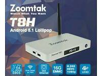 NEW ZOOMTAK T8H ANDROID TV BOX HIGH QUALITY BOX KODI MOVIES TV SHOWS SELF LOADS