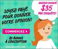 Swagbucks / Jusqu'à 35$ Par Sondage - Emploi à Domicile