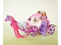 NEW PUMPKIN CARRIAGE WITH BEAUTIFUL STEFFI LOVE SIMBA TOYS RED HAIR HORSE VIP
