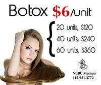 'BOTOX $6/unit--Juvederm Ultra@$399(1st tube) and $200(2nd tube)