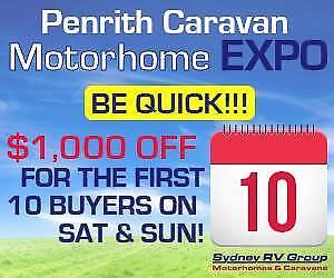 $1000 OFF FOR 1ST 10 BUYERS @ PENRITH CARAVAN &MOTORHOME EXPO!