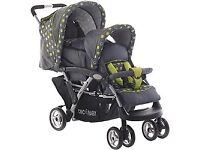 Double buggy pram Toddler and Baby Nearly New