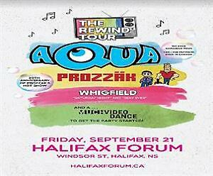 2 Halifax Aqua, Prozzak, and Whigfield concert tickets