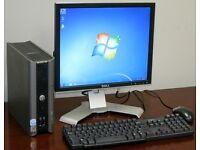 """Dell Ultra Small Form Desktop Computer PC & 17"""" Dell LCD"""