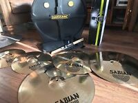 Sabian XS Cymbal Pack, Hard Case Cymbal Carry Case/Storage, Mapex Cymbal Stand and a Stick Bag!