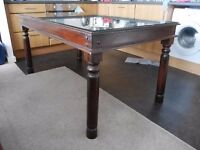 Sheesham Hardwood Dining Table with heavy duty, bevelled edge removable glass cover.
