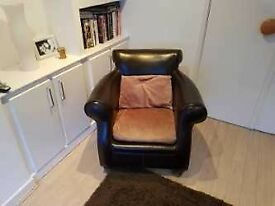 DFS Brown leather and Suede Armchair