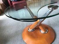 Sliding Glass Topped Steel & Wood Coffee Table. Modern Design. Beautifully Made. Very Heavy Base.