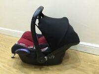 Maxi Cosi Car Seat in red with Hood and Rain Cover will fit Bugaboo (adaptors required)