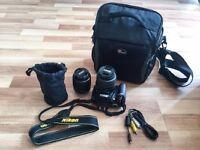 Nikon D3200 Black digital camera + 18-55mm lens+55-200mm lens+carry bag +all wires needed.