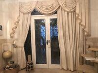 2 x pair of handmade curtains with 4 x handmade pelmets