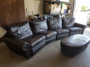 Sectional Brown Leather Couch