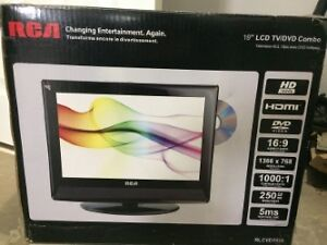 "19"" RCA tv with wall mount and built in DVD player"