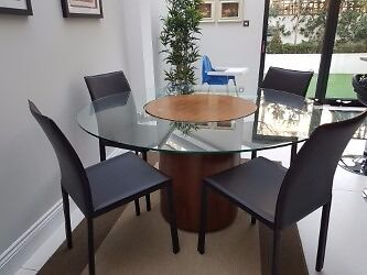 BoConcept Occa Walnut and Glass Round Dining Table with turnable